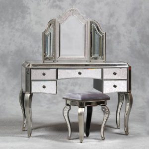 ... Dressing Table Mirror And Stool Set. Venetian Mirrored Dresser